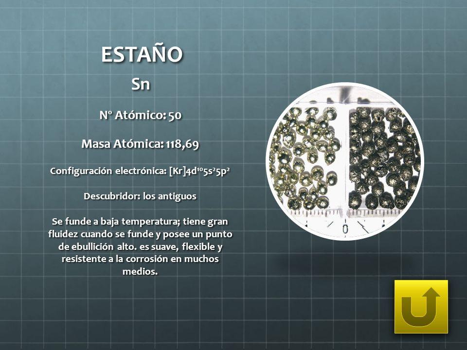 Configuración electrónica: [Kr]4d105s25p2 Descubridor: los antiguos